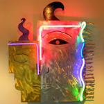 Neon Face Abstract Sculpture Aluminum Figure Art
