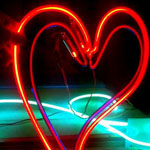 Neon art sculpture heart red