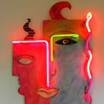 Duality abstract metal neon art sculpture