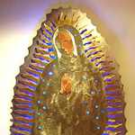 Virgin of Guadalupe metal sculpture neon art