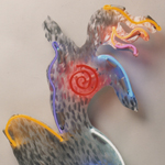 Figure Crimson Light Sprial Neon Metal Art Sculpture